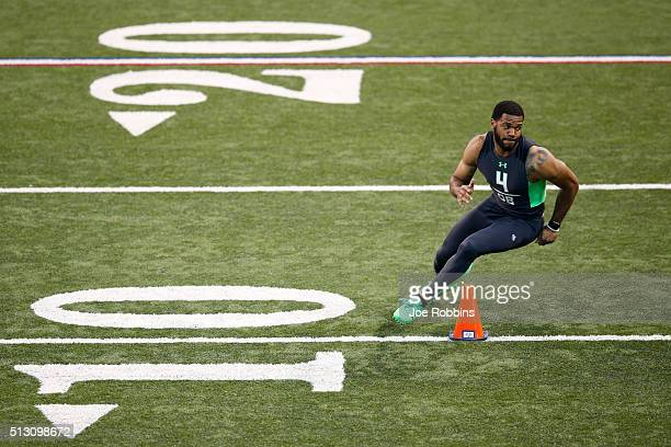 Defensive back Briean BoddyCalhoun of Minnesota participates in a drill during the 2016 NFL Scouting Combine at Lucas Oil Stadium on February 29 2016...