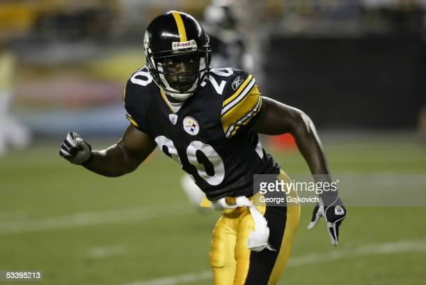 Defensive back Bryant McFadden of the Pittsburgh Steelers covers a receiver during a preseason game against the Philadelphia Eagles at Heinz Field on...