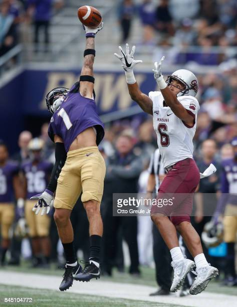 Defensive back Byron Murphy of the Washington Huskies bats a pass away from wide receiver Keenan Curran of the Montana Grizzlies at Husky Stadium on...