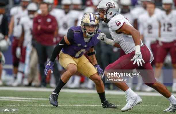 Defensive back Byron Murphy of the Washington Huskies defends against wide receiver Keenan Curran of the Montana Grizzlies at Husky Stadium on...