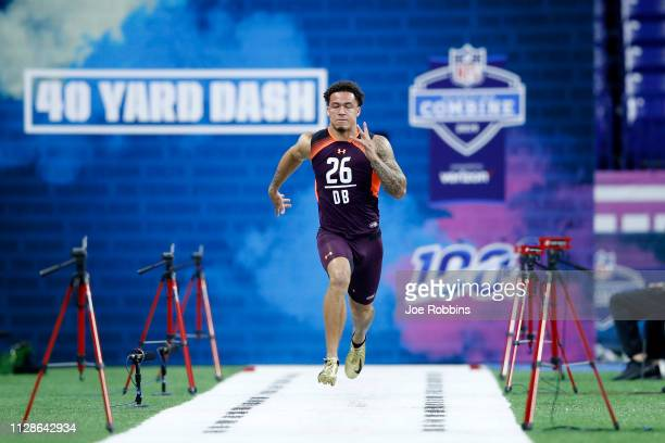 Defensive back Byron Murphy of Washington runs the 40yard dash during day five of the NFL Combine at Lucas Oil Stadium on March 4 2019 in...