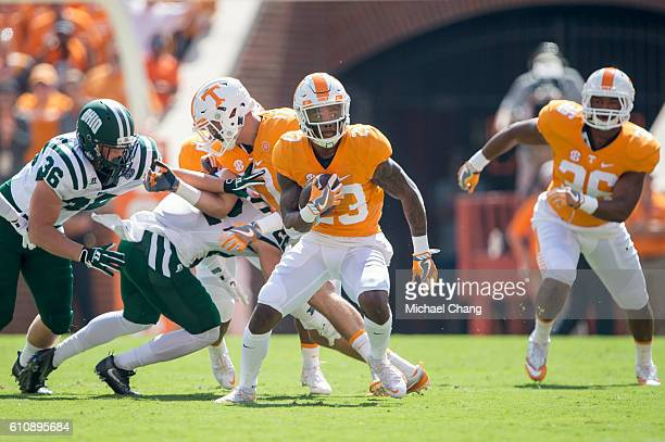 Defensive back Cameron Sutton of the Tennessee Volunteers looks to move the ball downfield during their game against the Ohio Bobcats at Neyland...