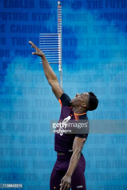 Defensive back Corey Ballentine of Washburn competes in the vertical jump during day five of the NFL Combine at Lucas Oil Stadium on March 4 2019 in...