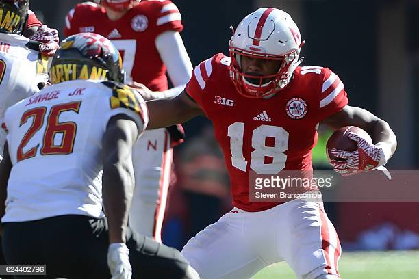 Defensive back Darnell Savage Jr #26 of the Maryland Terrapins tackles running back Tre Bryant of the Nebraska Cornhuskers at Memorial Stadium on...