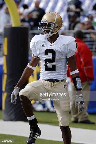 Defensive back Darrin Walls of the University of Notre Dame Fighting Irish warms up prior to a game on October 28 2006 against the United States...
