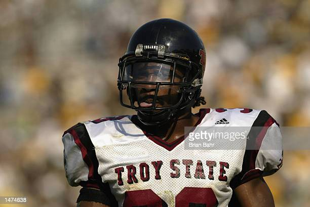 Defensive back David Philyaw of the Troy State Trojans stands on the field during the NCAA football game against the Missouri Tigers on September 28...