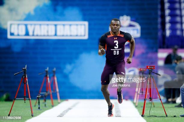 Defensive back Deandre Baker of Georgia runs the 40yard dash during day five of the NFL Combine at Lucas Oil Stadium on March 4 2019 in Indianapolis...