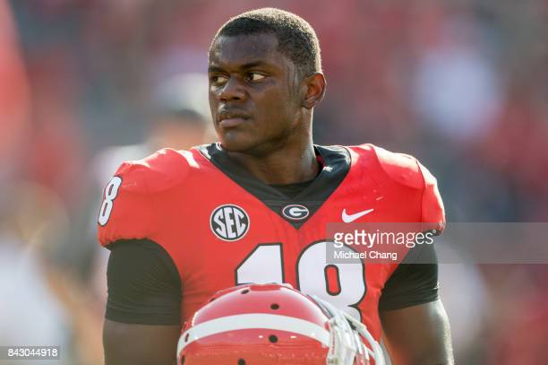 Defensive back Deandre Baker of the Georgia Bulldogs prior to their game against the Appalachian State Mountaineers at Sanford Stadium on September 2...