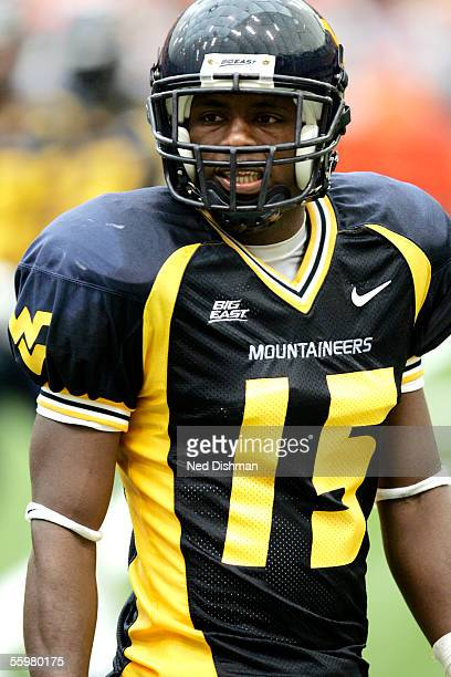 Defensive back Dee McCann of the West Virginia University Mountaineers against the Syracuse University Orange on September 4, 2005 at the Carrier...