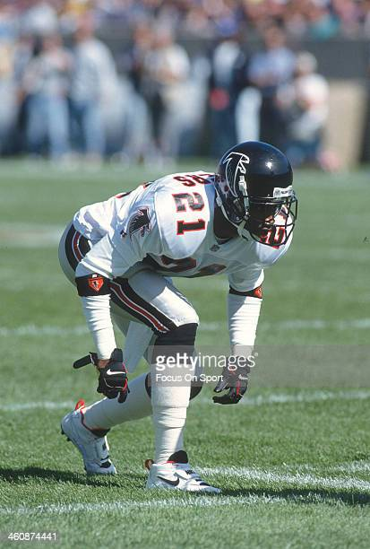 Defensive back Deion Sanders of the Atlanta Falcons in action against the Chicago Bears October 3 1993 during an NFL football game at Soldiers Field...