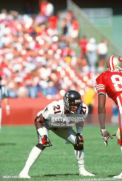 Defensive back Deion Sanders of the Atlanta Falcons in action against the San Francisco 49ers during an NFL football game October 18 1992 at...