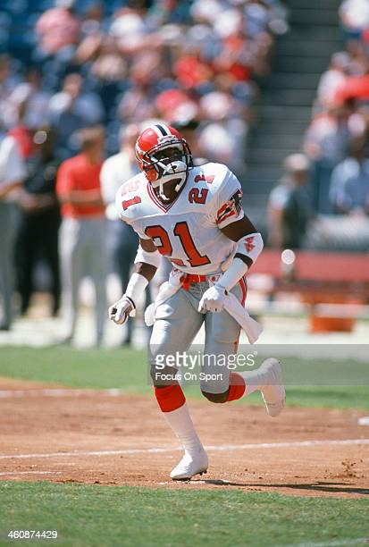 Defensive back Deion Sanders of the Atlanta Falcons in action during an NFL football game circa 1989 Sanders played for the Falcons from 198993