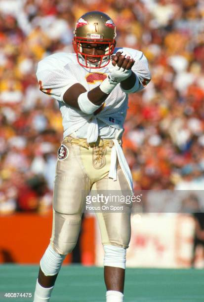 Defensive back Deion Sanders of the Florida State Seminoles in action during an NCAA Football game circa 1988 Sanders attended Florida State...
