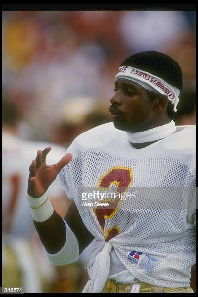 Defensive back Deion Sanders of the Florida State Seminoles looks on during a game Mandatory Credit Allen Dean Steele /Allsport