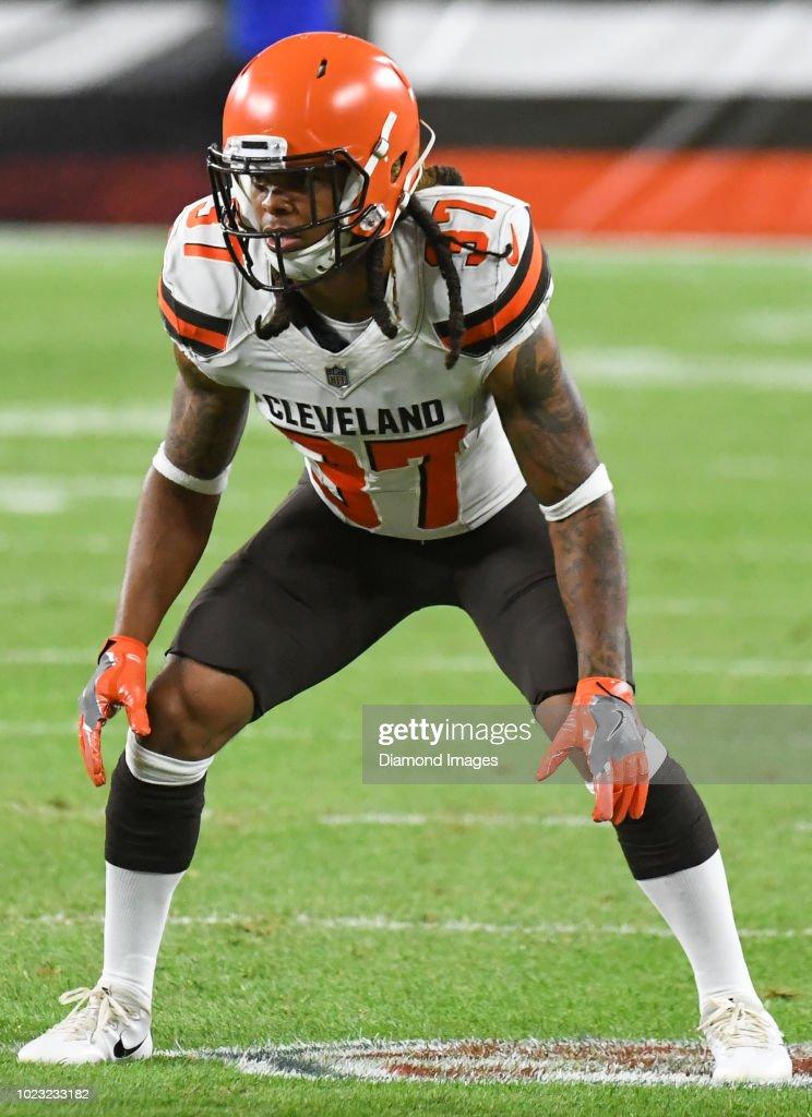 Defensive back Denzel Rice of the Cleveland Browns awaits