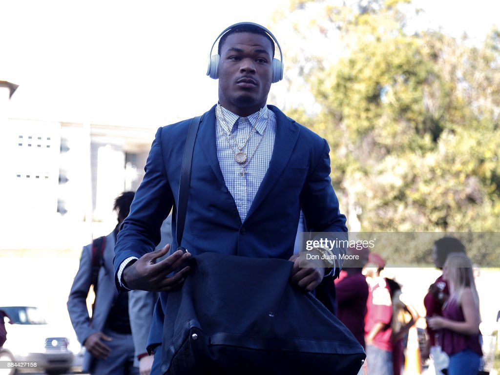 Defensive Back Derwin James #3 of the Florida State Seminoles arrives to the stadium off the team bus before the game before playing the Louisiana Monroe Warhawks at Doak Campbell Stadium on Bobby Bowden Field on December 2, 2017 in Tallahassee, Florida.