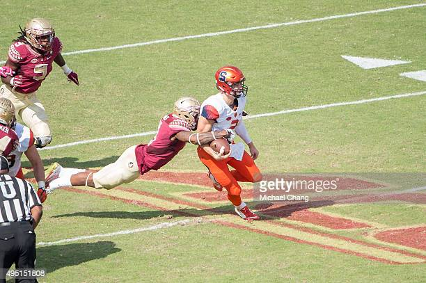 Defensive back Derwin James of the Florida State Seminoles attempts to sack quarterback Eric Dungey of the Syracuse Orange on October 31 2015 at Doak...