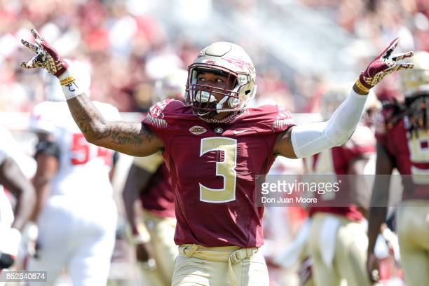 Defensive Back Derwin James of the Florida State Seminoles celebrates after a play during the game against the North Carolina State Wolfpack at Doak...
