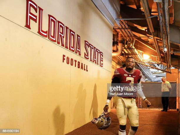 Defensive Back Derwin James of the Florida State Seminoles leaves the locker room to the field before the game against the Louisiana Monroe Warhawks...