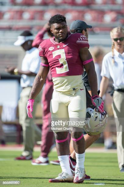 Defensive back Derwin James of the Florida State Seminoles prior to their game against the Louisville Cardinals at Doak Campbell Stadium on October...