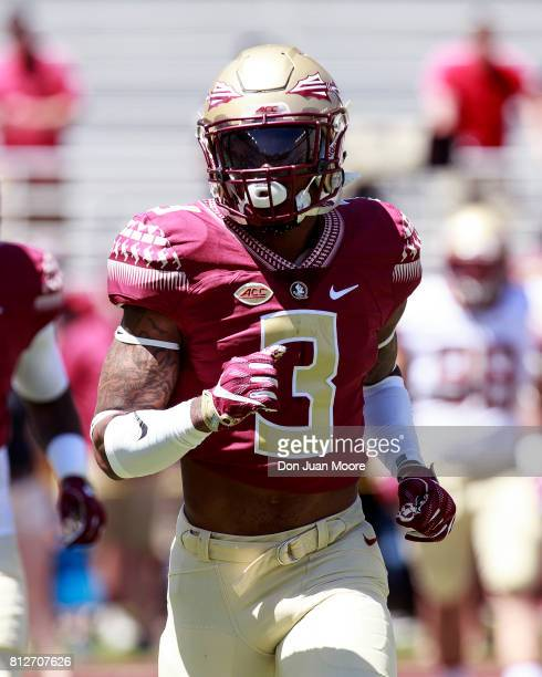 Defensive Back Derwin James of the Florida State Seminoles warmsup before the annual Garnet and Gold Spring Football game at Doak Campbell Stadium on...