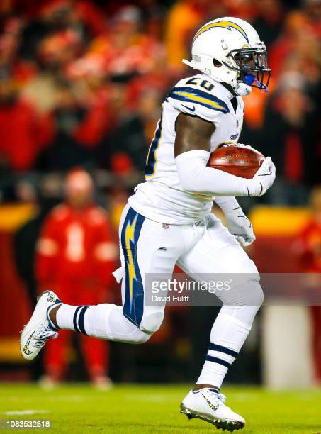 Defensive back Desmond King of the Los Angeles Chargers returns the opening kickoff against the Kansas City Chiefs at Arrowhead Stadium on December...