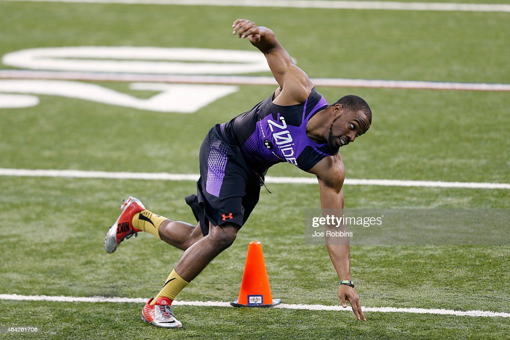 Defensive back Doran Grant of Ohio State competes during the 2015 NFL Scouting Combine at Lucas Oil Stadium on February 23, 2015 in Indianapolis, Indiana.
