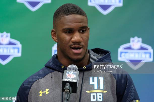 UCLA defensive back Fabian Moreau answers questions from members of the media during the NFL Scouting Combine on March 5 2017 at Lucas Oil Stadium in...