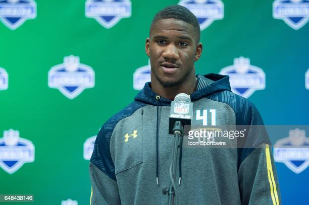 UCLA defensive back Fabian Moreau answers questions from the media during the NFL Scouting Combine on March 5 2017 at Lucas Oil Stadium in...