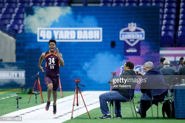 Defensive back Greedy Williams of LSU runs the 40yard dash during day five of the NFL Combine at Lucas Oil Stadium on March 4 2019 in Indianapolis...