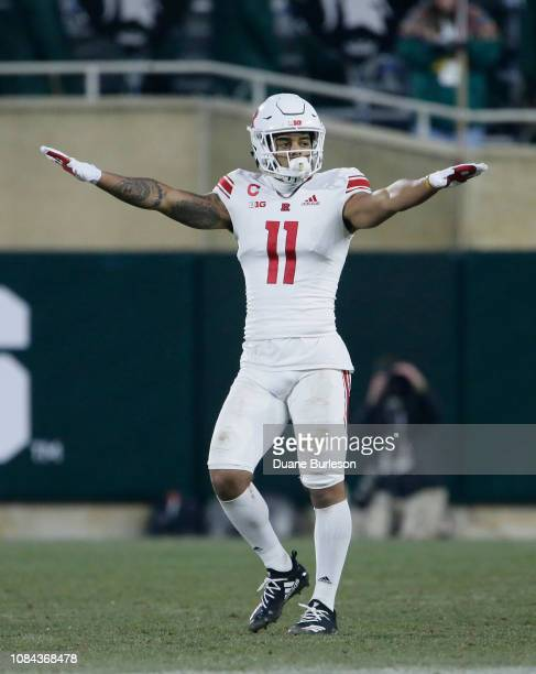 Defensive back Isaiah Wharton of the Rutgers Scarlet Knights during the first half of a game against the Michigan State Spartans at Spartan Stadium...