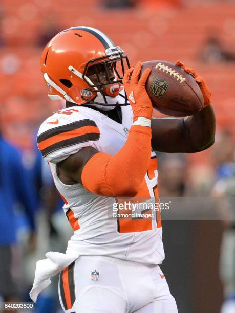 Defensive back Jabrill Peppers of the Cleveland Browns catches a pass prior to a preseason game on April 27 2017 against the New York Giants at...