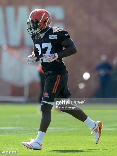 Defensive back Jabrill Peppers of the Cleveland Browns runs onto the field during a rookie mini camp practice on May 13 2017 at the Cleveland Browns...