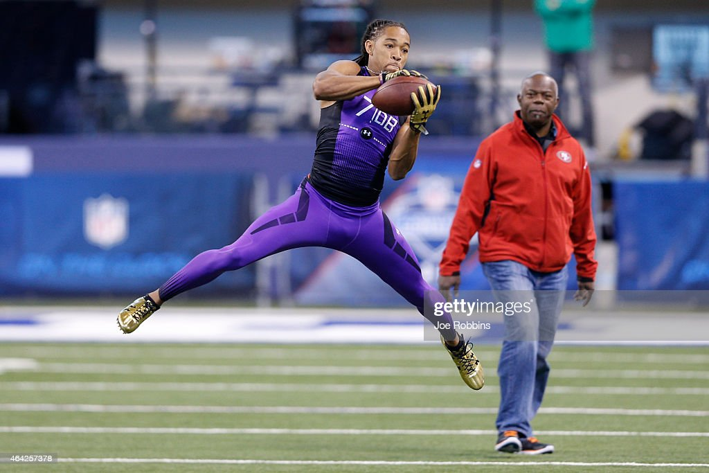 Defensive back Jalen Collins of LSU catches the ball during the 2015 NFL Scouting Combine at Lucas Oil Stadium on February 23, 2015 in Indianapolis, Indiana.
