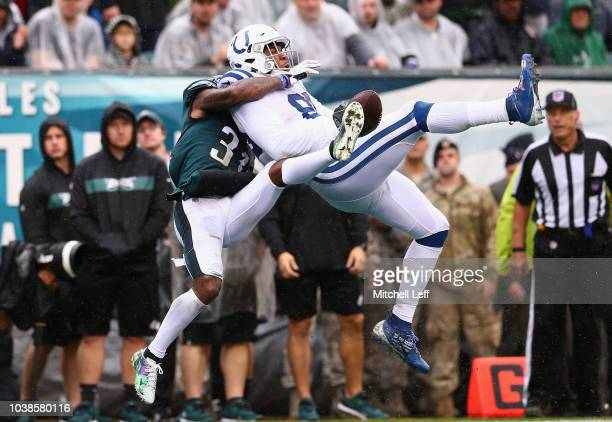 Defensive back Jalen Mills of the Philadelphia Eagles breaks up a pass intended for tight end Eric Ebron of the Indianapolis Colts during the third...