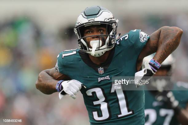 Defensive back Jalen Mills of the Philadelphia Eagles celebrates after making a tackle against the Indianapolis Colts during the first quarter at...