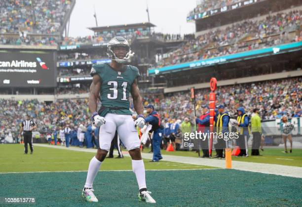 Defensive back Jalen Mills of the Philadelphia Eagles celebrates a tackle against to force a fourth down against the Indianapolis Colts during the...