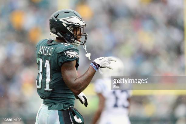 Defensive back Jalen Mills of the Philadelphia Eagles celebrates after breaking up a pass in the endzone against the Indianapolis Colts during the...