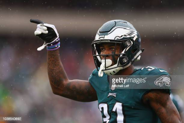 Defensive back Jalen Mills of the Philadelphia Eagles reacts after breaking up a pass against the Indianapolis Colts during the second quarter at...