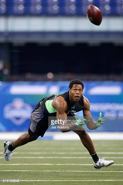 Defensive back Jalen Ramsey of Florida State participates in a drill during the 2016 NFL Scouting Combine at Lucas Oil Stadium on February 29 2016 in...