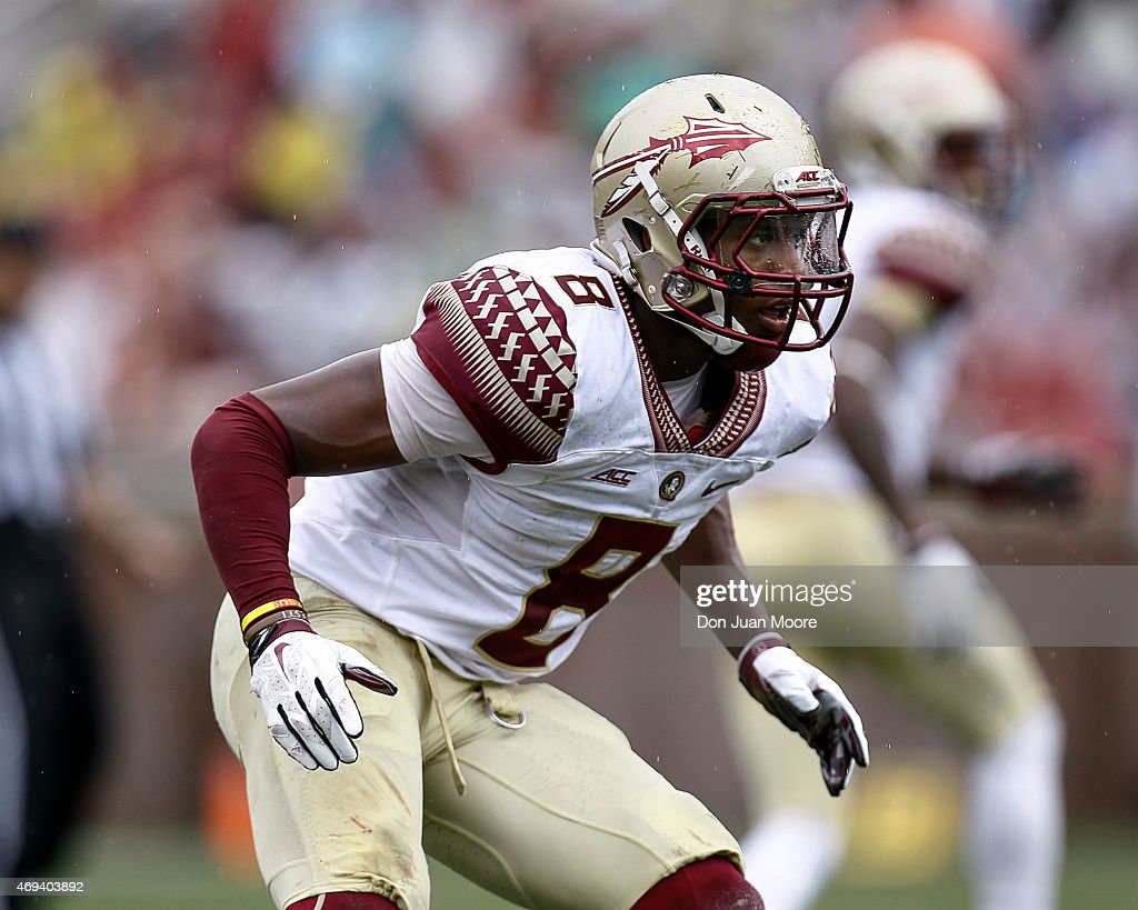 Defensive back Jalen Ramsey #8 of the Florida State Seminoles during the spring game at Doak Campbell Stadium on Bobby Bowden Field on April 11, 2015 in Tallahassee, Florida.