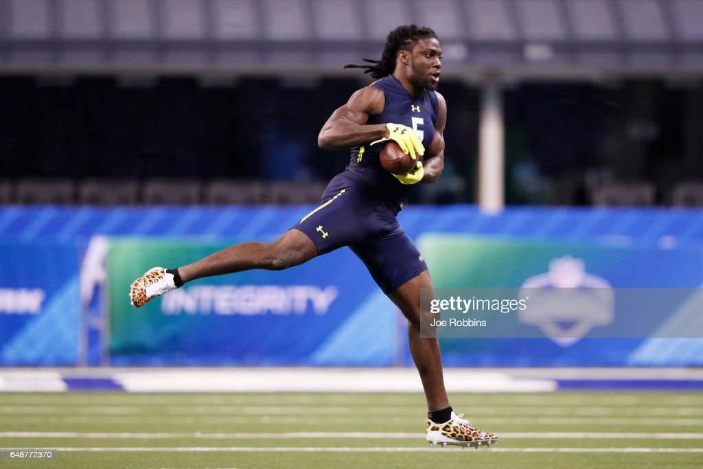 Defensive back Jamal Carter of Miami (Florida) participates in a drill during day six of the NFL Combine at Lucas Oil Stadium on March 6, 2017 in Indianapolis, Indiana.