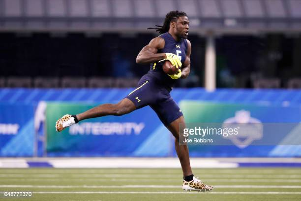 Defensive back Jamal Carter of Miami participates in a drill during day six of the NFL Combine at Lucas Oil Stadium on March 6 2017 in Indianapolis...