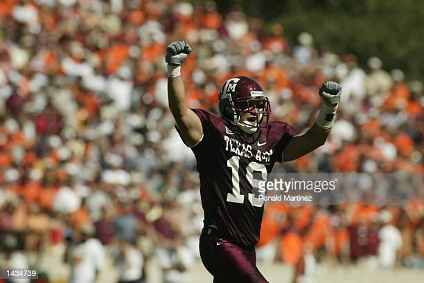 Defensive back Jaxson Appel of the Texas AM Aggies celebrates during the NCAA football game against the Virginia Tech Hokies on September 21 2002 at...