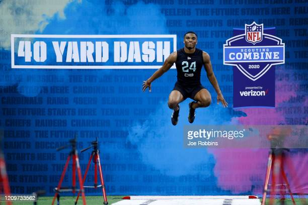 Defensive back Jeff Okudah of Ohio State prepares to run the 40yard dash during the NFL Combine at Lucas Oil Stadium on February 29 2020 in...
