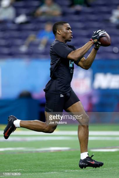 Defensive back Jeff Okudah of Ohio State runs a drill during the NFL Combine at Lucas Oil Stadium on February 29 2020 in Indianapolis Indiana