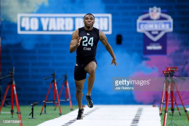Defensive back Jeff Okudah of Ohio State runs the 40yard dash during the NFL Combine at Lucas Oil Stadium on February 29 2020 in Indianapolis Indiana