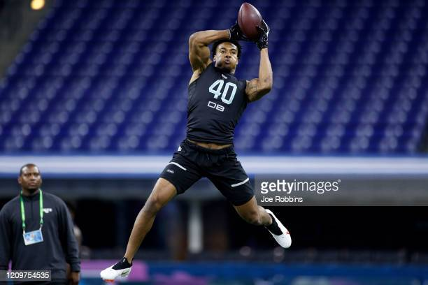 Defensive back Jeremy Chinn of Southern Illinois runs a drill during the NFL Combine at Lucas Oil Stadium on February 29, 2020 in Indianapolis,...
