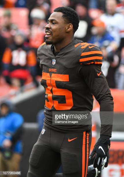 Defensive back Jermaine Whitehead of the Cleveland Browns on the field prior to a game against the Cincinnati Bengals on December 23 2018 at...