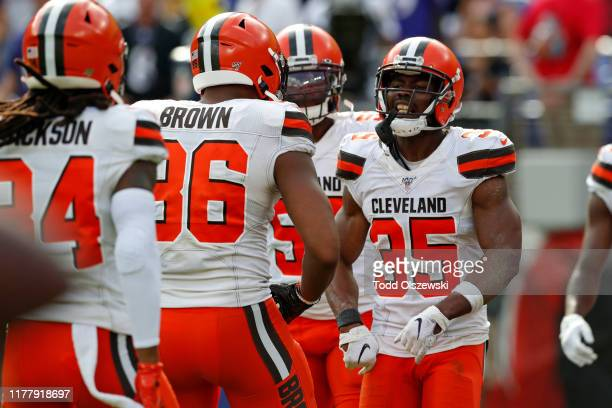 Defensive Back Jermaine Whitehead of the Cleveland Browns reacts after an interception in the second half against the Baltimore Ravens at MT Bank...